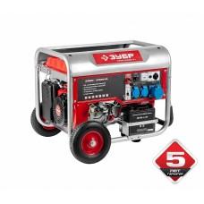 Бензиновый генератор ЗУБР, 4-х тактный, ручной и электрический пуск, колеса + рукоятка, ЗЭСБ-5500ЭНА